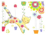 Miss Kitty Enjoys Flowers Wall Decal