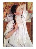 Girl Arranging Her Hair Wall Decal by Mary Cassatt