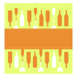 Wine Glasses and Bottles Wallstickers
