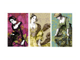 Patterned Dresses Triptych Wall Decal
