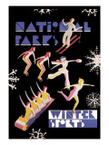 National Park&#39;s Winter Sports Autocollant mural par Dorothy Waugh