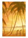 Tropical Beach with Palm Trees Wall Decal