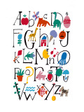 Cute Alphabet with Illustrations Wall Decal