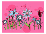 Flower Garden on Pink Wall Decal