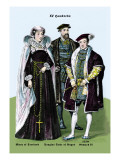 Mary of Scotland, Douglas Duke of Angus, and Edward VI, 14th Century Wall Decal by Richard Brown