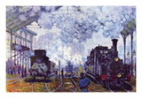 Saint Lazare Station In Paris, Arrival of a Train Wall Decal by Claude Monet