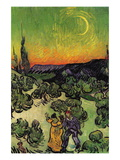 Landscape with Couple Walking and Crescent Moon Wall Decal by Vincent van Gogh