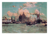 Port Traffic on the River Mersey Wall Decal by Charles Dixon