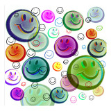 Floating Smiley Faces Wall Decal