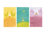 Crossing Critters Triptych Wall Decal