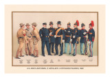 Uniforms of 7 Artillery and 3 Officers, 1899 Autocollant mural par Arthur Wagner