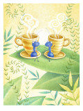 Ants Gossip with Cups of Cappuccino on a Leaf Wall Decal