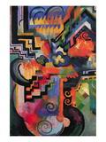 Colored Composition (Homage  Sebastian Johann Bach) Wall Decal by Auguste Macke