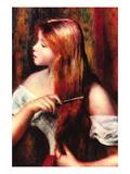 Combing Girl Wall Decal by Pierre-Auguste Renoir