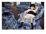 Small Girl In Blue Wall Decal by Mary Cassatt