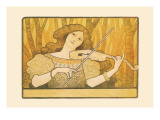 Woman Plays the Violin Wall Decal by Paul Berthon
