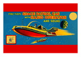Space Patrol Car with Radio Operator Wall Decal