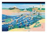 Fording the River Wandtattoo von Katsushika Hokusai
