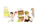 Birthday Celebrations Triptych Wall Decal