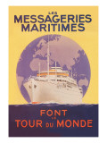 Take a Cruise Around the World with les Messageries Maritimes Wall Decal by Sandy Hook