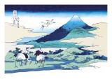 Cranes Nearby Mount Fuji Wandtattoo von Katsushika Hokusai