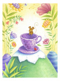 Mouse Hanging out on a Purple Teacup in a Wild Flower Forest Wall Decal
