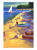 Beach with Boats and People Wall Decal