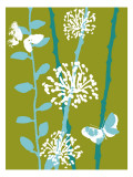 Green and Blue Color Print with Flowers and Butterfly Vinilo decorativo