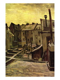 Backyards of Old Houses In Antwerp In The Snow Autocollant mural par Vincent van Gogh