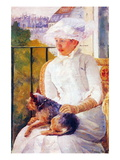Lady with Dog Wall Decal by Mary Cassatt