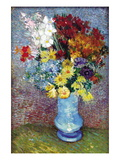Flowers In a Blue Vase Wall Decal by Vincent van Gogh