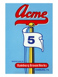 Acme 5 Broom Label Wall Decal