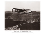 Boeing B-314 over San Francisco Bay, California 1939 Wallstickers af Clyde Sunderland