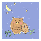 Hug for Baby Owl Wallstickers