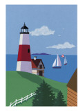 Lighthouse with Sailboats Autocollant mural