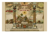 Symbols - Emblematic Chart and Masonic History of Free and Accepted Masons Autocollant mural
