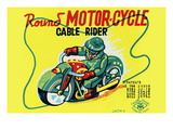 Round Motor-Cycle Cable Rider Wall Decal