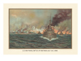 Naval Battle of Santiago, July 3rd, 1898 Wall Decal by  Werner