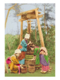Washing Rice at the Well Wall Decal