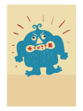 Angry Blue Monster Wall Decal