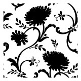 Black and White Floral Print with Three Blossoms Wall Decal