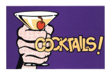 Cocktails! Pop Art with Martini in Hand Wall Decal