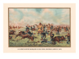 Custer Massacre at Big Horn, Montan June 25, 1876 Autocollant mural par Arthur Wagner