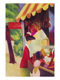 Before Hutladen (Woman with a Red Jacket and Child) Wallstickers af Auguste Macke