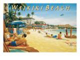 Waikiki Beach Autocollant mural par Kerne Erickson