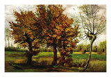 Autumn Landscape with Four Trees Autocollant mural par Vincent van Gogh