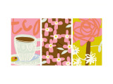 Tea Time Patterns Triptych Wall Decal