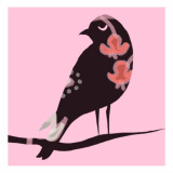 Brown Bird on Pink Wallstickers