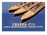Ybarra and Company Mediterranean-Brazil-Plata Cruise Line Wall Decal by  Flos