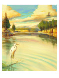 Lake Scene with Heron Wall Decal
